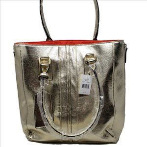 GORGEOUS Gold Faux Leather Lined Tote Bag NEW wTAG